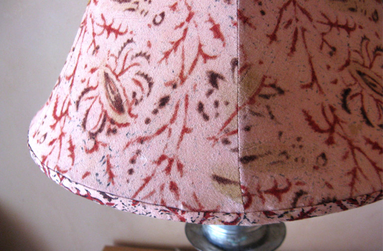 Handmade fabric shade with Indian block-print cotton