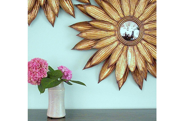 Santa Fe interior design with bold daisy mirror partnered with a single humble hydrangea