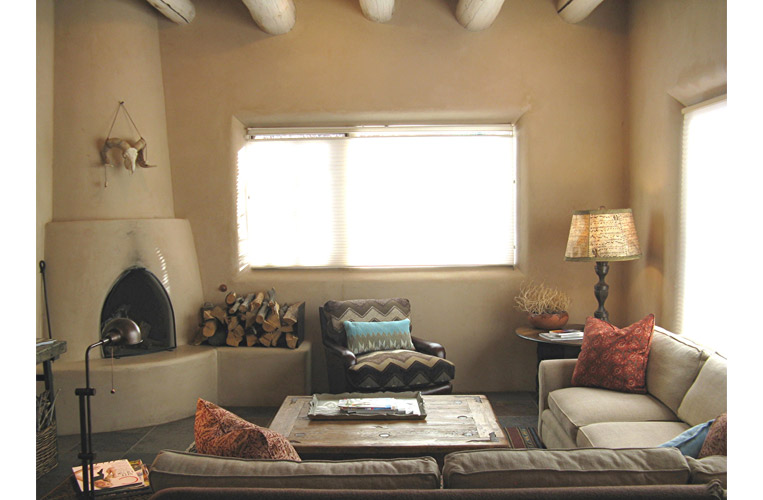 Interior design for Taos second home /vacation rental is warm and durable