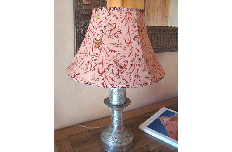 Custom vintage tin candlestick lamp and fabric shade by Taos interior designer, Karen Lievense