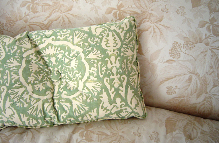 Custom pillows for all my projects….here in iconic Fortuny cotton